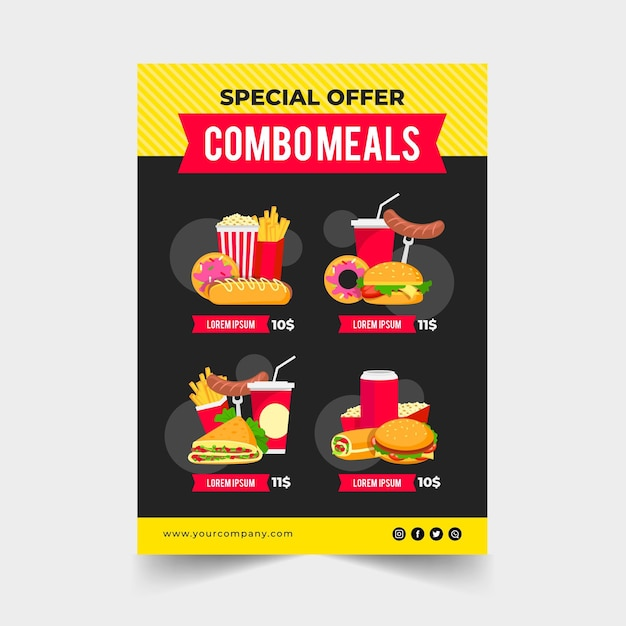 Combo meals - poster concept Free Vector