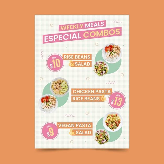 Combo meals - poster template Premium Vector
