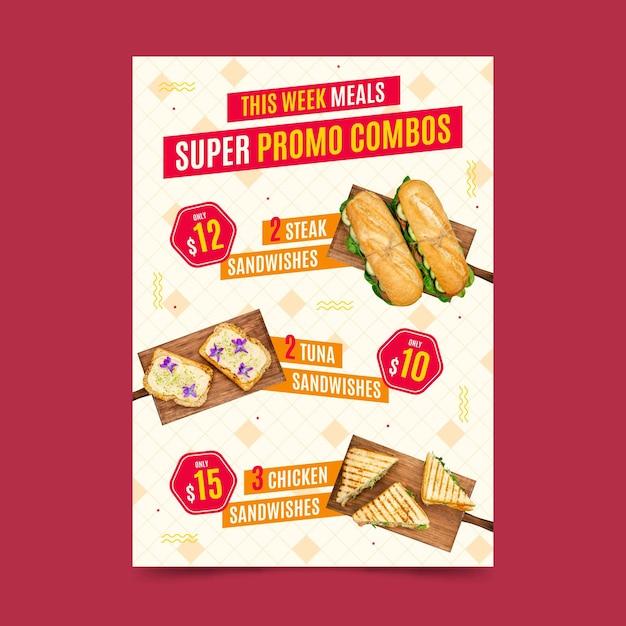 Modello di poster di pasti combinati Vettore gratuito