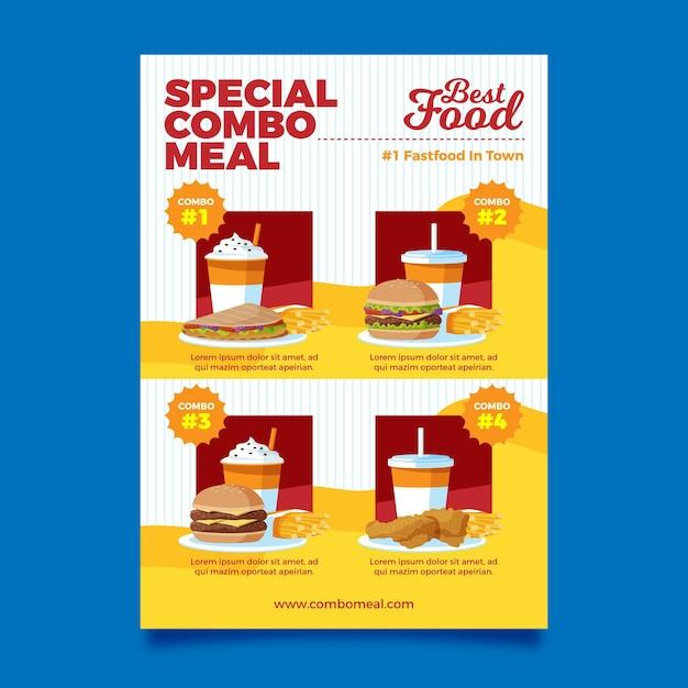 Комбинированные блюда - шаблон плаката Бесплатные векторы