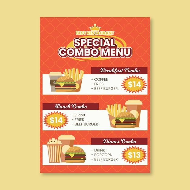 Шаблон плаката комбинированных блюд Premium векторы