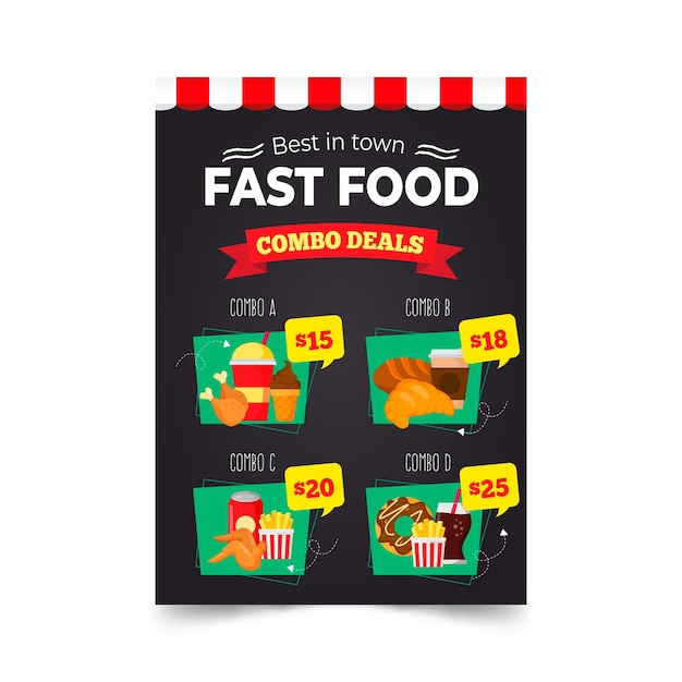 Combo meals - poster template Free Vector