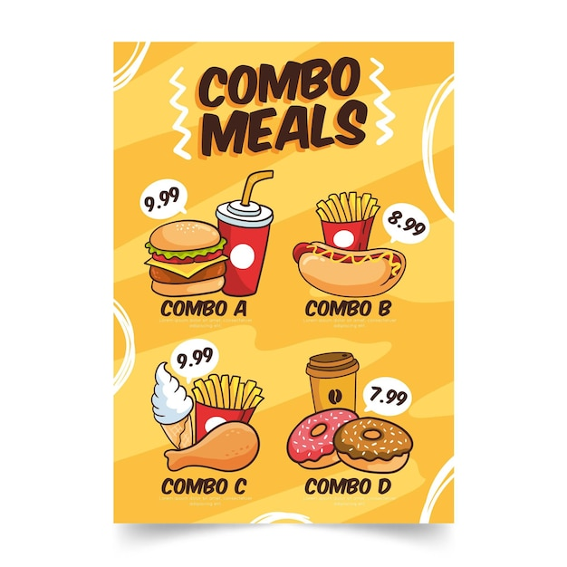 Combo meals poster template Free Vector