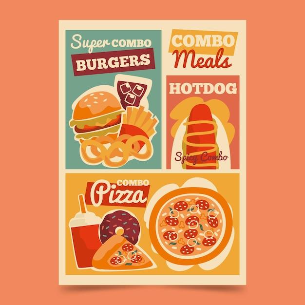 Шаблон плаката комбинированных блюд Бесплатные векторы