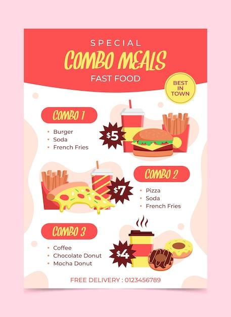 Комбинированные блюда - плакат Бесплатные векторы