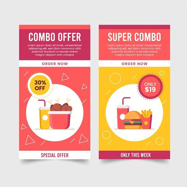 Комбо предлагает набор баннеров Бесплатные векторы