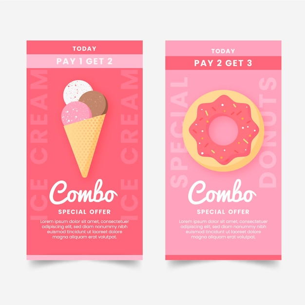 Combo offers banners set Free Vector