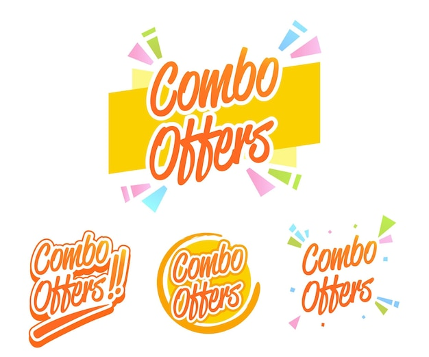 Combo offers labels collection Free Vector