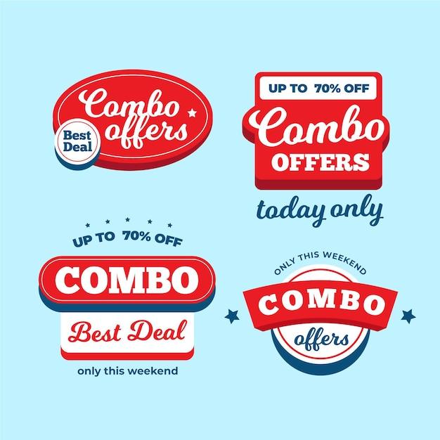 Комбо предлагает коллекцию этикеток Бесплатные векторы