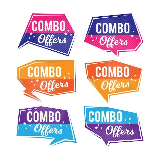 콤보 상품-라벨 컨셉 무료 벡터