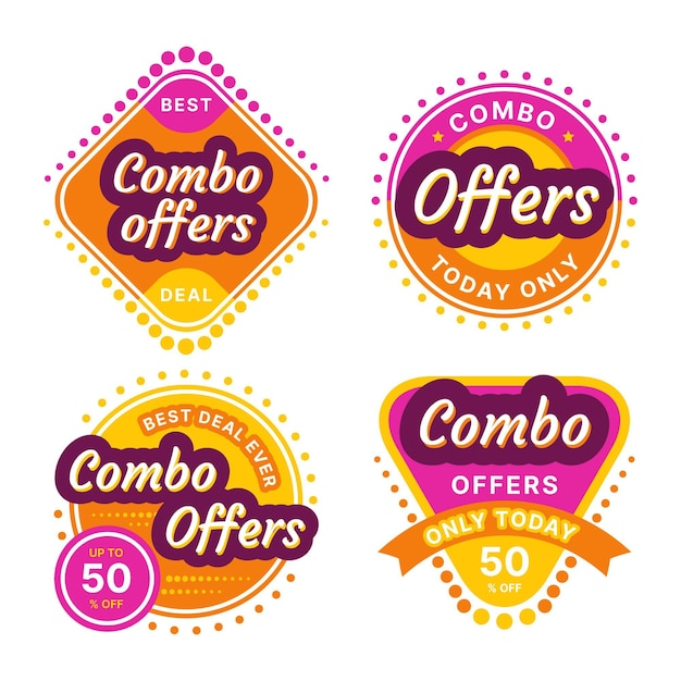 Комбо предлагает концепцию этикеток Бесплатные векторы