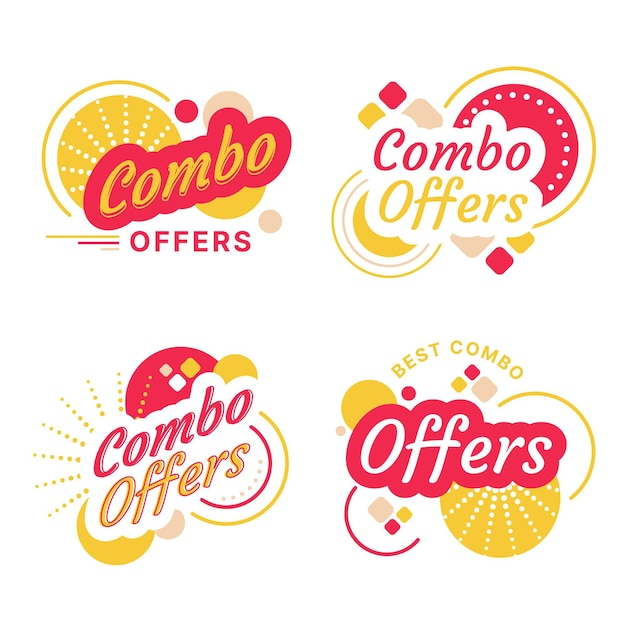 Combo offers labels concept Free Vector