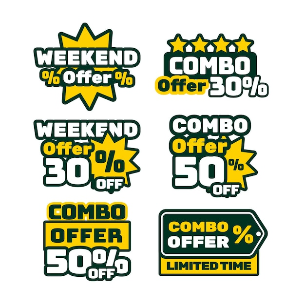 Combo offers labels pack Free Vector