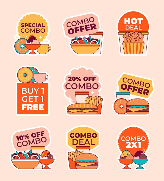 Offerte combinate - etichette Vettore gratuito