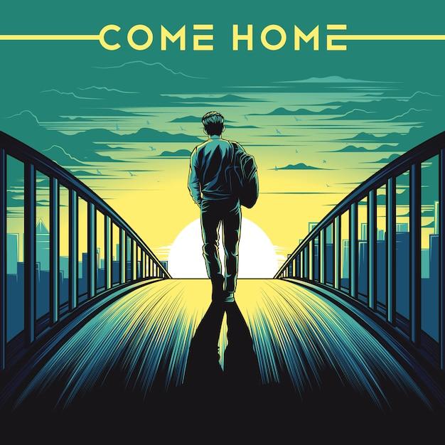 Come home illustration Premium Vector