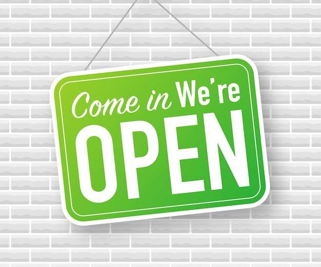Come in, we are open, hanging sign Premium Vector