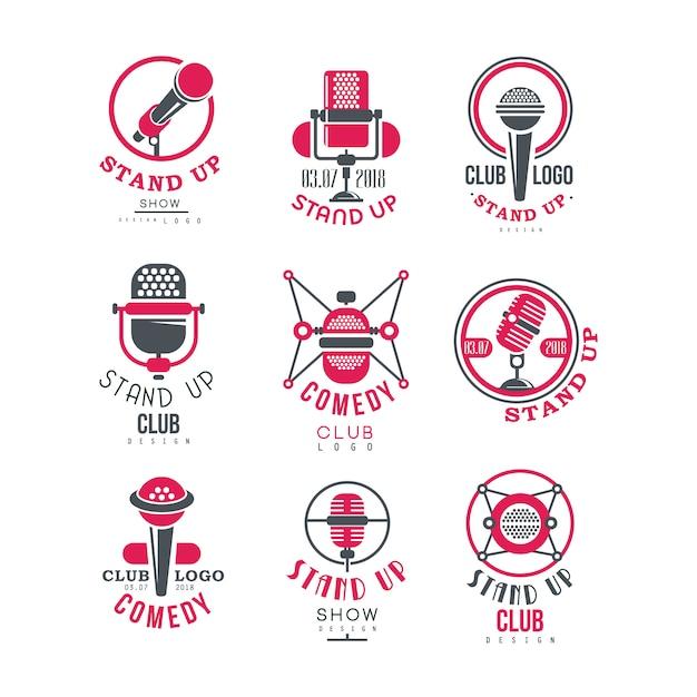 Comedy club stand up show logo design set  illustrations Premium Vector