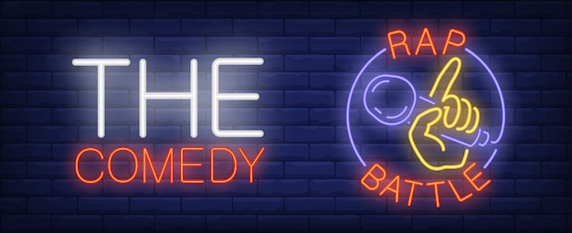 Comedy rap battle neon sign. hand with microphone in circle on brick wall. Free Vector