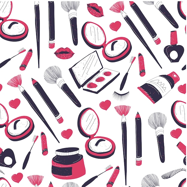 フェイシャルケアとシームレスパターンを構成する化粧品 Premiumベクター