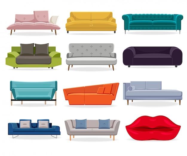 Комфорт классический диван и современный диван Premium векторы