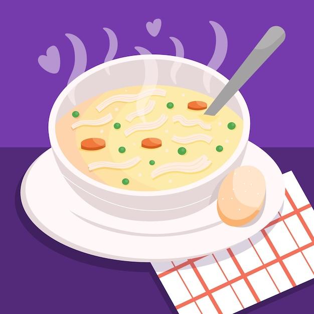 Comfort food concept with soup Premium Vector