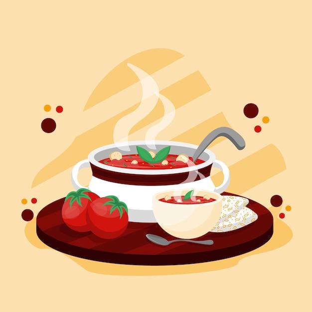 トマトスープのコンフォートフードコンセプト Premiumベクター