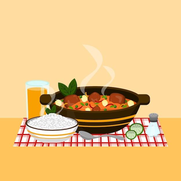 Комфорт еды иллюстрация с едой Бесплатные векторы