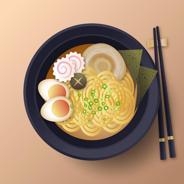 Ramen alimentare comfort nel piatto Vettore gratuito