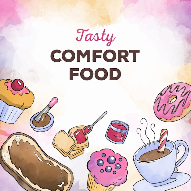 Comfort food sweets and coffee Free Vector