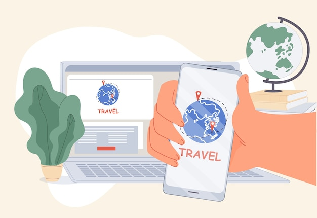 Comfort travel agency mobile application online service. booking technology to order best tour on internet. user hand holding smartphone front of computer. tourism, world travelling. digital marketing Premium Vector
