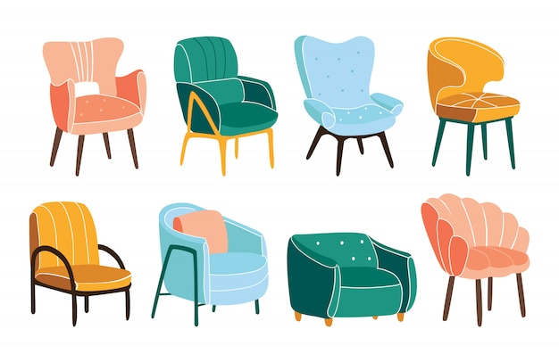 Comfortable armchairs  bundle. collection of stylish comfy furniture. set of trendy scandinavian chairs isolated on white. set of simple fashionable furniture elements. Premium Vector