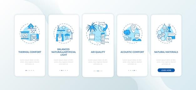 コンセプトのある快適なホームブルーのオンボーディングモバイルアプリページ画面。 Premiumベクター