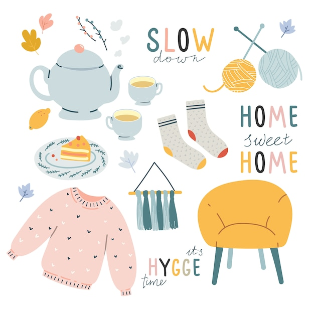 Comfortable hygge doodle illustrations with lettering Premium Vector