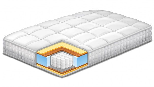 Comfortable hypoallergenic orthopedic mattress. Premium Vector