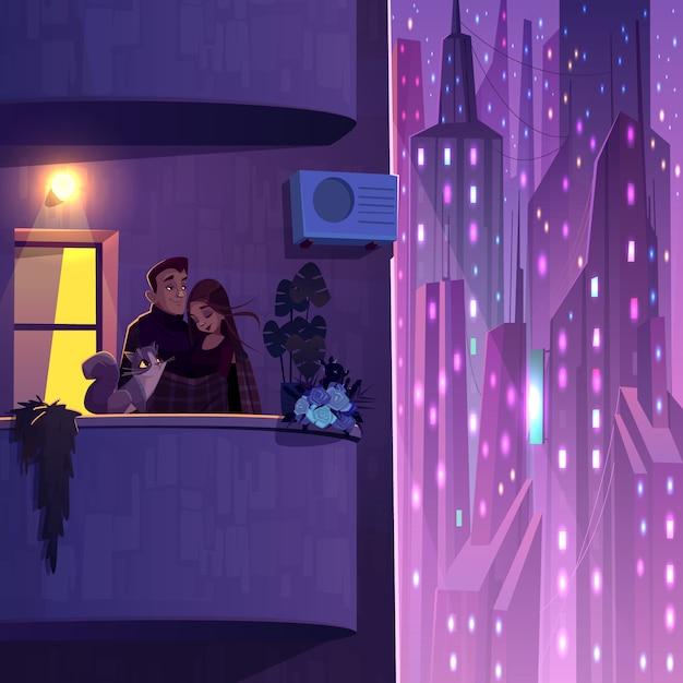 Комфортное проживание в современном многоэтажном доме мультяшный вектор с молодой парой с кошкой Бесплатные векторы