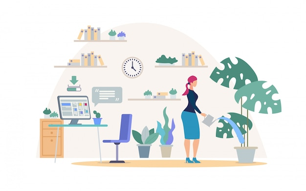 Comfortable place for work flat  concept. Premium Vector