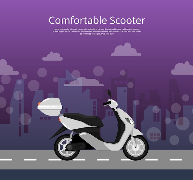 Comfortable scooter poster in flat style Premium Vector