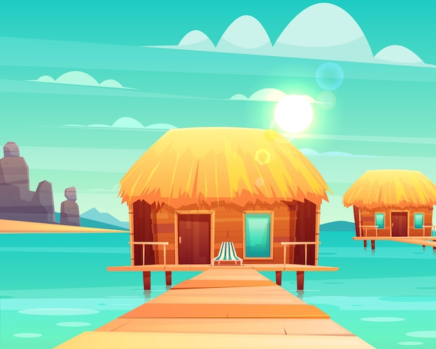 Comfortable wooden bungalows with thatched roof on pier at sunny tropical seacoast cartoon vector illustration. Free Vector