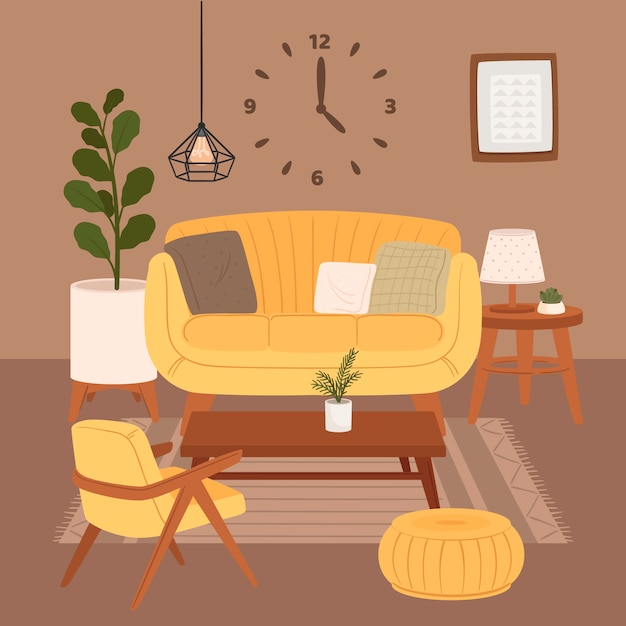 Удобный интерьер гостиной, сидящий на кресле и пуфике с комнатными растениями, растущими в горшках Бесплатные векторы