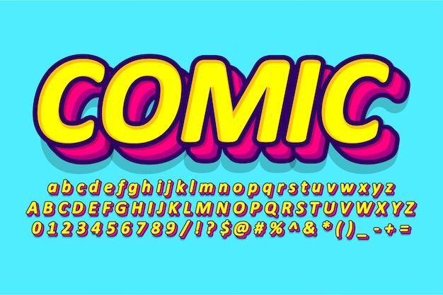 만화 알파벳 디자인, 복고풍 팝 아트 글꼴 프리미엄 벡터