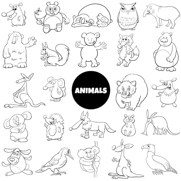 Comic animal characters large set color book page Premium Vector