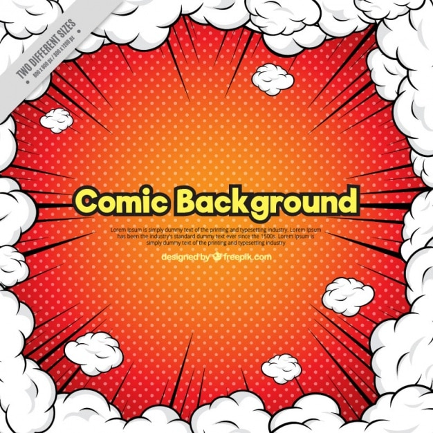 Comic background surrounded by clouds of smoke Free Vector