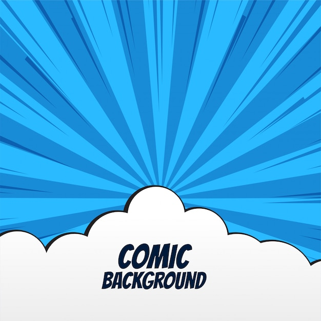 Comic background with clouds and rays Free Vector
