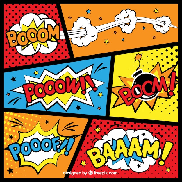 Comic backgrounds Free Vector