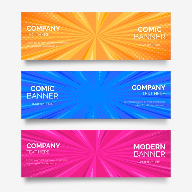 Comic banner collection Free Vector