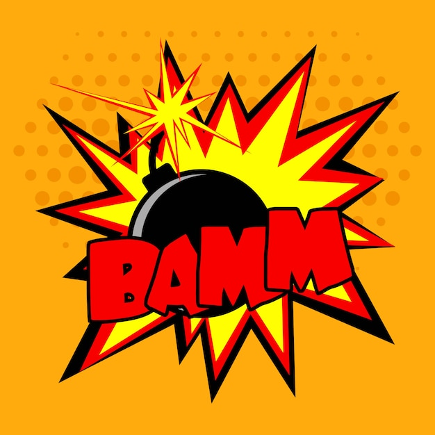 Comic bomb illustration Free Vector