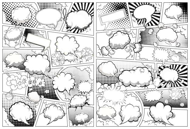 吹き出し付きの行で分割された漫画本の白黒ページテンプレート。 。 Premiumベクター