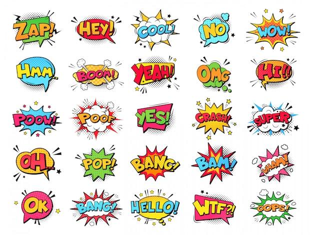 Книга комиксов пузыри. облака речи взрывов шаржа смешные смешные, слова комиксов, думая пузыри и графический комплект иллюстрации элементов текста переговора. комиксы диалоговые шары Premium векторы