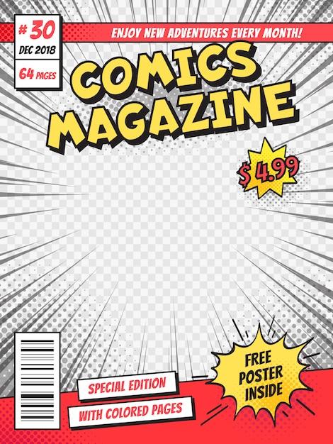 comic book cover template psd comic book cover. comics books title page, funny superhero