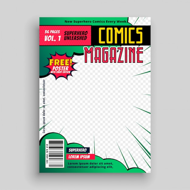 Comic book cover page Free Vector